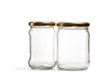 Barattolo di vetro vuoto sopra bianco Fotografia Stock Libera da Diritti