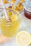 Barattolo e limone del miele su fondo bianco Fotografie Stock Libere da Diritti