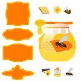 Barattolo ed etichette del miele Immagine Stock
