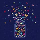 Barattolo interno delle farfalle illustrazione di stock
