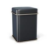 Barattolo nero del metallo per tè o caffè su fondo bianco Fotografia Stock