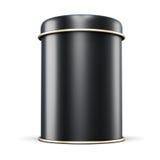 Barattolo nero del metallo per tè su fondo bianco Immagine Stock