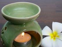 barattolo verde di aromaterapia Fotografia Stock