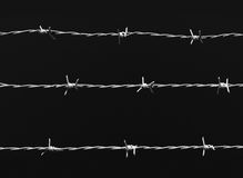 Barb wire. Three lines of barb wire over dark background Stock Photo