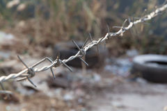 Barb wire in blurred background. Of wasteland Stock Photography