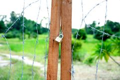 Barb wire door Royalty Free Stock Photography
