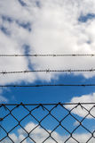 Barb Wire Fence Stock Foto's