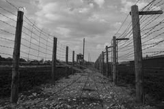 Barb-wire fence in  Majdanek concentration camp Stock Images