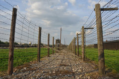 Barb-wire fence of Majdanek concentration camp Royalty Free Stock Image
