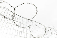 Barb wire fence over gray sky Stock Photos