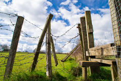 Barb wire fence. Royalty Free Stock Photos