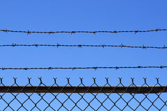 Barb wire fence top Stock Images