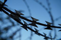 Barb wire. In old factory royalty free stock images
