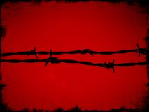 Barb wire on red Stock Photos