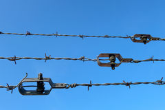 Barb wire with wire tightener Stock Image
