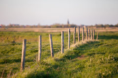 Barb wire on a wooden fence. In the rural area Uitkerkse Polders around the belgian coastal city blankenberge Royalty Free Stock Photos