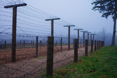 Barb wire in WWII on the border Stock Photos
