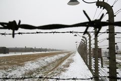 Barb wire in a WWII german prisoner camp Royalty Free Stock Image