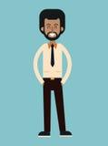 Barba afroamericana dell'uomo con sorridere della camicia del legame Immagine Stock