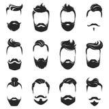 Barba de los peinados y sistema del monocromo del pelo stock de ilustración