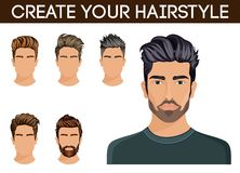 Barba dei pantaloni a vita bassa di simbolo di stile di capelli degli uomini, uomini dei baffi alla moda, moderna Illustrazione d Fotografie Stock Libere da Diritti