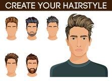 Barba di simbolo di stile di capelli degli uomini, uomini dei pantaloni a vita bassa della barba dei baffi Illustrazione di vetto Fotografie Stock Libere da Diritti