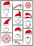 Barba do Natal e chapéu de Santa Claus ilustração do vetor