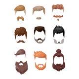 A barba do penteado e a cara do cabelo cortaram o vetor liso dos desenhos animados da máscara Imagem de Stock