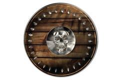 Barbaars Middeleeuws die Schild met schedel op witte achtergrond met klem wordt geïsoleerd Stock Foto's