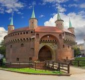 Barbacana en Kraków Foto de archivo