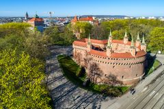 Barbacana medieval en Kraków, Polonia imagen de archivo