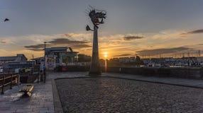 Barbacane di Plymouth ad alba in Inghilterra Regno Unito immagine stock libera da diritti