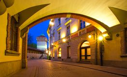 Barbacanevesting in een historisch deel van Krakau Stock Foto's