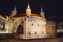 Barbacanevesting in het historische centrum van Krakau Royalty-vrije Stock Afbeeldingen