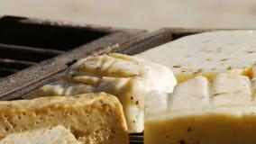 Barbacoa - asando a la parrilla la comida vegetariana - queso de soja y queso - ascendente cercano - 4k almacen de metraje de vídeo