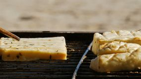 Barbacoa - asando a la parrilla la comida vegetariana - queso de soja y queso - ascendente cercano - 4k almacen de video