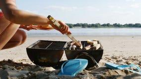 Barbacoa - asando a la parrilla las salchichas y el queso de soja en una playa del río - 4k - 4k almacen de video