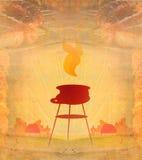 Barbacoa con la carne asada a la parrilla deliciosa, marco abstracto del vintage Imagen de archivo