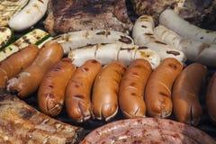 Barbacoa con la carne y las verduras Fotografía de archivo