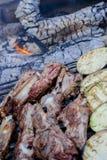 Barbacoa con la carne y las verduras Foto de archivo libre de regalías