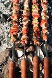 Barbacoa con los pinchos de la carne imagen de archivo libre de regalías