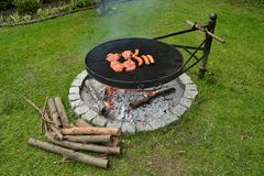 Barbacoa de la parrilla de las salchichas de cerdo de los filetes Imagenes de archivo