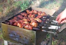 Barbacoa del kebab en la naturaleza. Imagenes de archivo