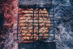 Barbacoa del verano con el pollo cena Foto de archivo