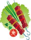 Barbacoa deliciosa en la hoja de la lechuga con las cebollas y los tomates Libre Illustration