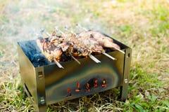 Barbacoa en la parrilla La carne se fríe en el carbón de leña Fotos de archivo