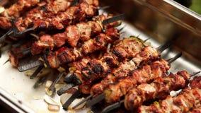 Barbacoa que asa a la parrilla kebab con las cebollas