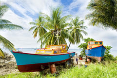 Barbados. Fishing boats at Six Men's Bay, Barbados Stock Photo