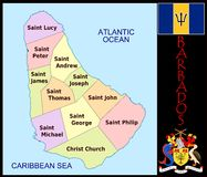 Barbados Administrative And Political Vector Map With Flag Stock