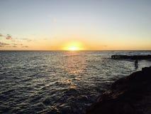 _Barbados_beach di tramonto Immagine Stock